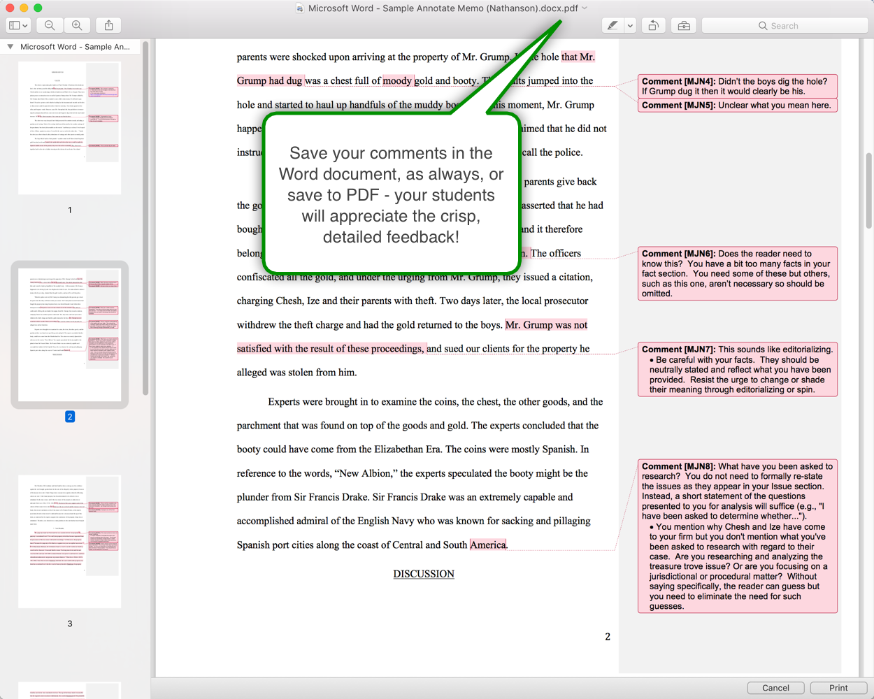 Annotate for Microsoft Word Legal Writing Edition - Grade Memos Faster