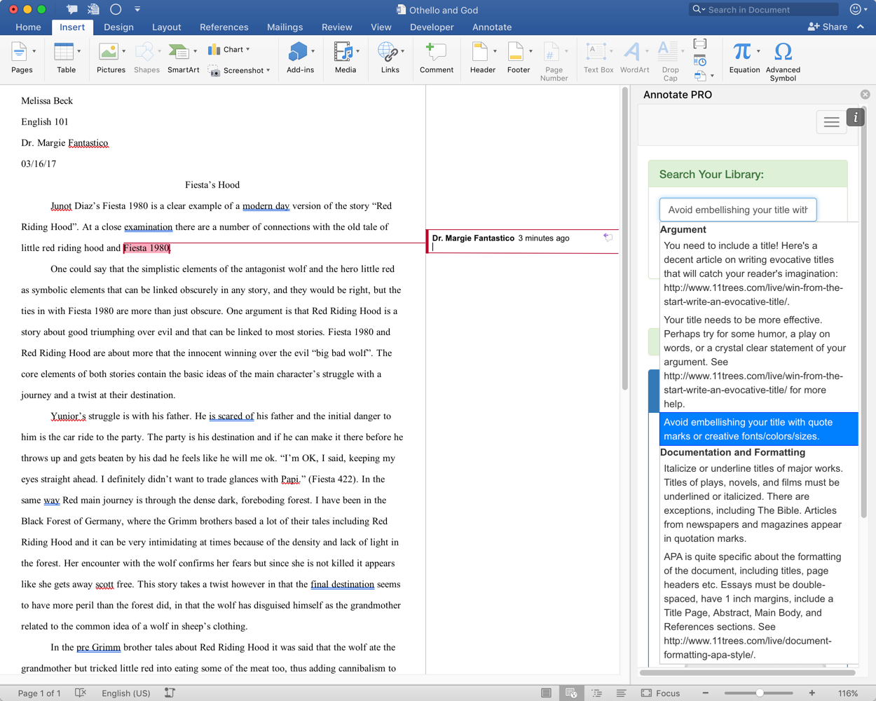 how to add comments in word online