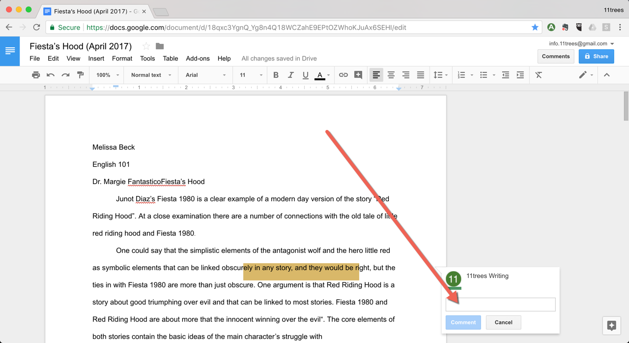 how to add comment on google docs